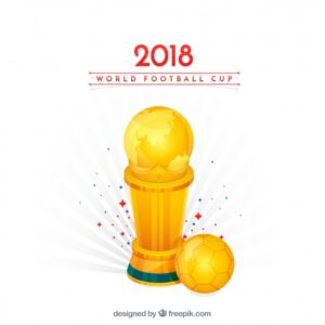 Football cup background with golden trophy Free Vector