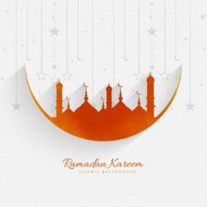 Orange mosque design for ramadan kareem Free Vector