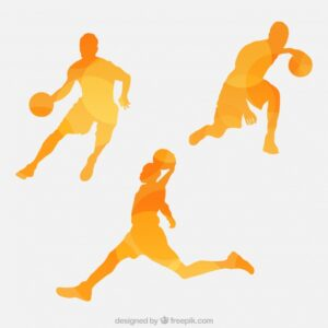 Set of abstract silhouettes of basketball players Free Vector