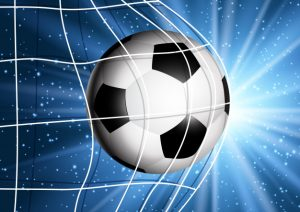 Soccer ball flying into the goal Free Vector