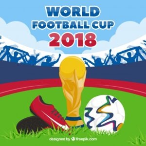 World football cup background with trophy and ball Free Vector