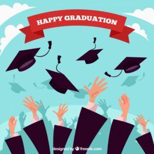 Flat background with hands throwing graduation caps Free Vector