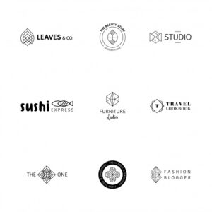 Geometric logo collection Free Vector