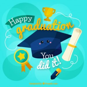 Graduation background with happy biretta character Free Vector