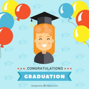 Graduation background with smiling girl and colored balloons Free Vector