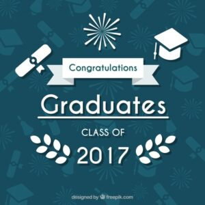Graduation background with white decorative elements Free Vector