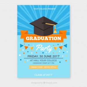 Graduation party brochure with orange details Free Vector