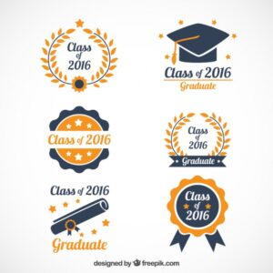 Hand drawn beautiful graduation logos Free Vector