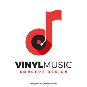 Music logo with note and vinyl Free Vector