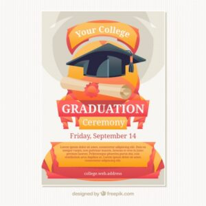 Poster for the graduation ceremony Free Vector