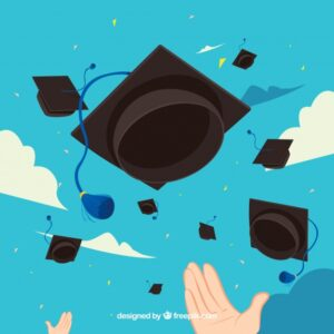 Sky background with graduation caps in flat design Free Vector