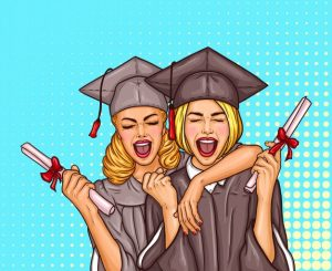 Two pop art excited girls graduate student in a graduation cap and mantle with a university diploma in their hands Free Vector
