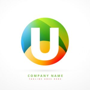 Circular colorful logo with initial U Free Vector