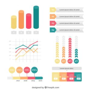 Colored set of great infographic elements Free Vector