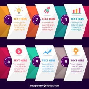 Infographic steps in gradient colors Free Vector