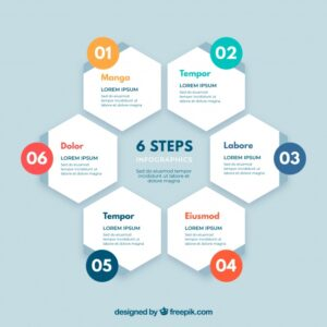 Infographic steps with colors in flat style Free Vector