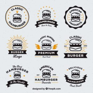 Selection of nine burger logos with orange details Free Vector