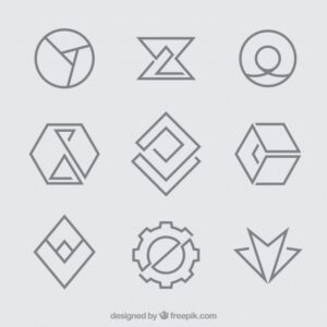 Simple geometric monoline logos Free Vector