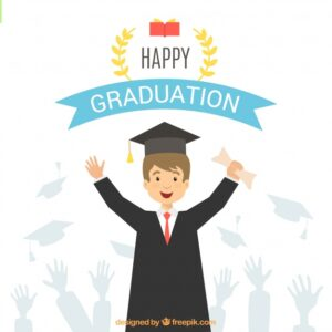 Background of student celebrating his graduation Free Vector