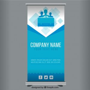 Blue business roll up template Free Vector