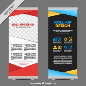 Business roll up with colorful geometric shapes Free Vector