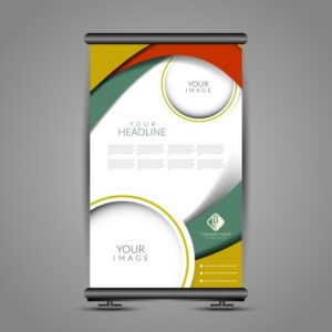 Colorful banner stand tempate Free Vector