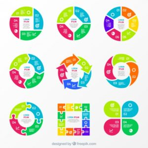 Colorful charts for infographic Free Vector