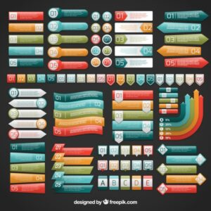 Colorful infographic labels Free Vector