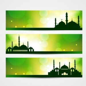 Green islamic banners Free Vector