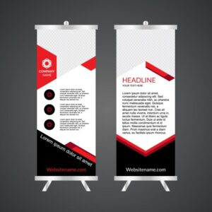 Red and white roll up template Free Vector