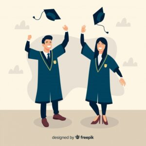 Students graduation hats in the air Free Vector