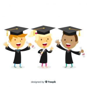 Students with graduation hats Free Vector