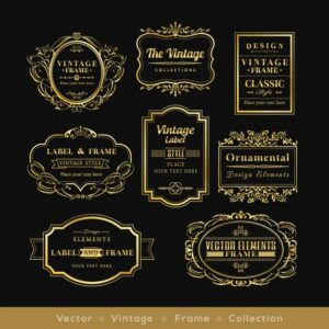 Vintage golden retro logos Free Vector