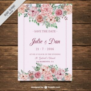 Wedding card with flowers on a pink background Free Vector