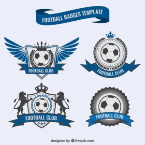 Blue football badges Free Vector