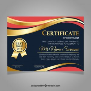 Certificate template in golden color Free Vector