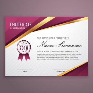 Certificate with golden elements Free Vector