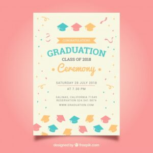 Elegant graduation invitation template Free Vector