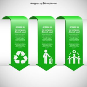 Green infographic banners Free Vector