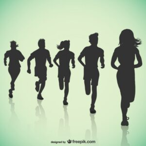 Running black silhouettes Free Vector