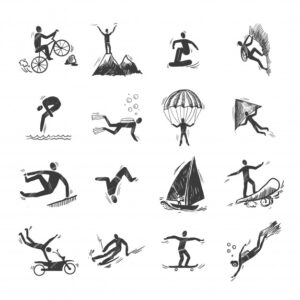 Extreme sports icons sketch of diving climbing sailing isolated doodle vector illustration Free Vector