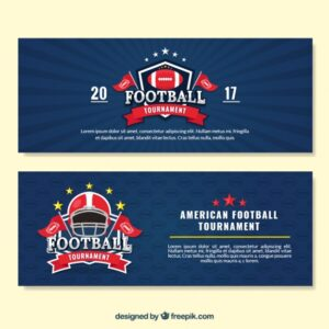 Football banners with badges Free Vector