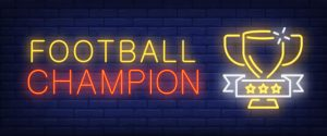 Football champion neon text with cup Free Vector