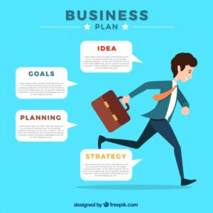 Infographic template of businessman running Free Vector