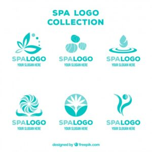 Set of spa center logos in flat style Free Vector