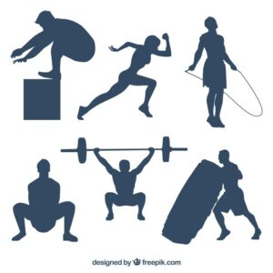Silhouettes set of people doing crossfit Free Vector