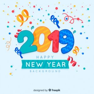 Confetti new year 2019 background Free Vector