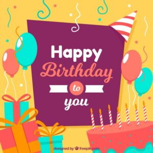 Flat design happy birthday background Free Vector
