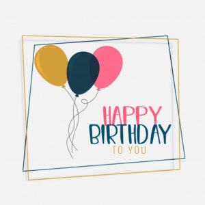 Happy birthday card design with flat color balloons Free Vector