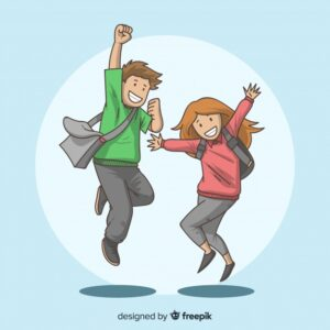 Happy hand drawn students jumping Free Vector